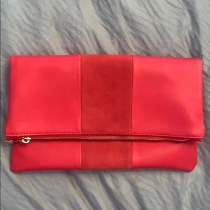 Handbags - Red clutch, fold over with gold zipper